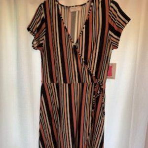 Nwt Bobbie Brooks Sz L Striped Wrap Dress
